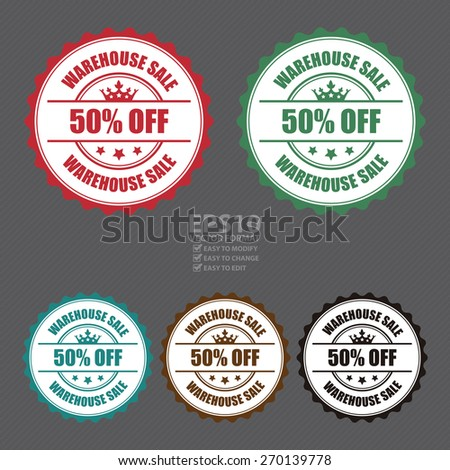 Vector : Warehouse Sale 50% Off Stamp, Badge, Label, Sticker or Icon  - stock vector