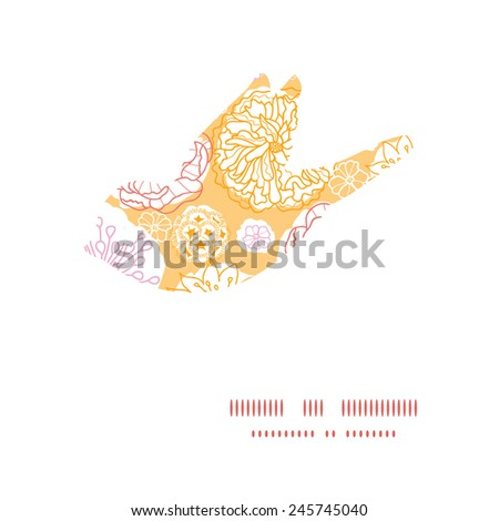 Vector warm day flowers bird silhouette pattern frame - stock vector