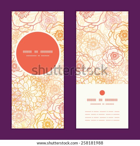Vector warm flowers vertical round frame pattern invitation greeting cards set - stock vector
