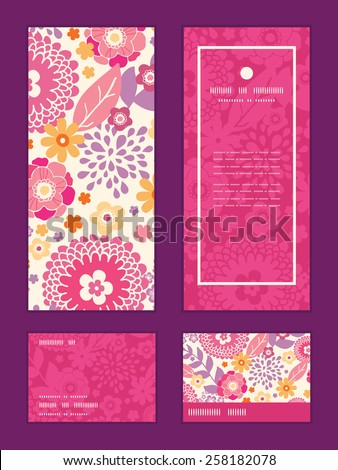 Vector warm summer plants vertical frame pattern invitation greeting, RSVP and thank you cards set - stock vector