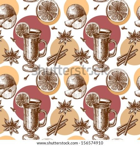 vector warm wine, seamless background  - stock vector