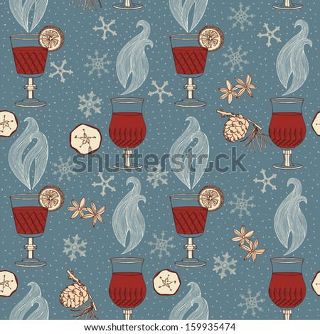 Vector warm wine, seamless background. - stock vector