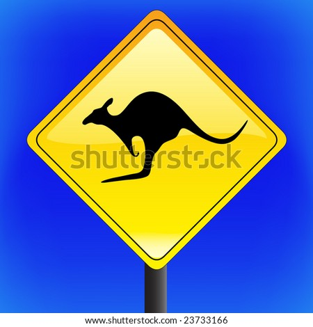 vector warning Kangaroo traffic with sky in background
