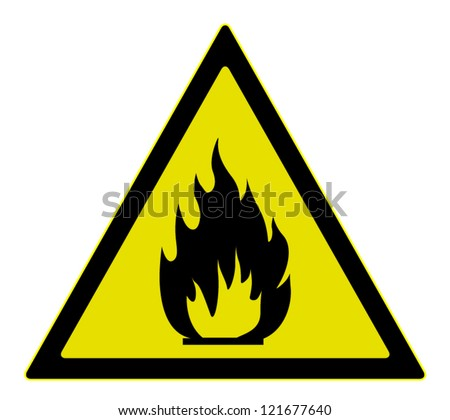 Vector warning  sign of flammable materials, isolated on white background