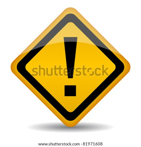 Vector warning sign with exclamation point, eps10 illustration - stock vector