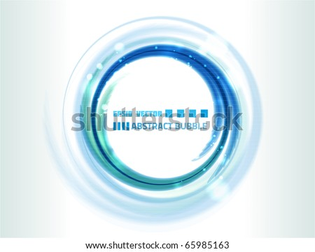 Vector water bubble-like abstraction on white background for your design. Colored blue. - stock vector
