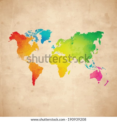 Vector water-colour world map on aged paper texture - stock vector