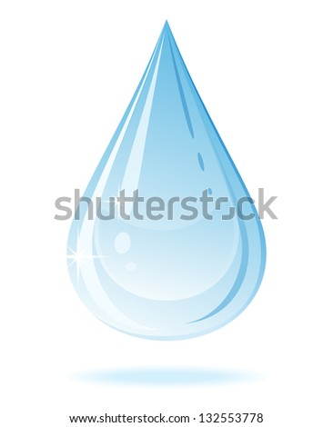Vector water drop isolated on a white background.