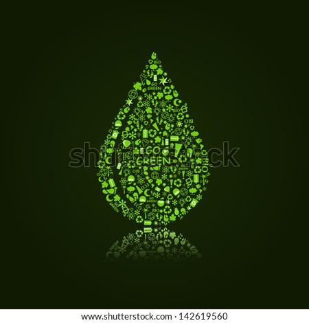 Vector Water Drop on  Black Background. Go Green Concept - stock vector