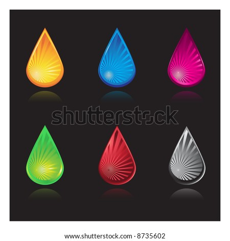 Vector - Water droplets with various colors and reflections. - stock vector