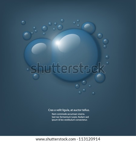 Vector water drops on dark blue background. - stock vector