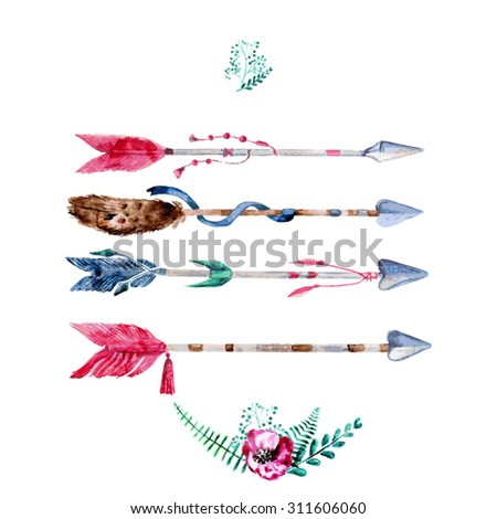 Vector Watercolor Arrow Set  With Hand Painted Leaves. Watercolor Leaf Branch backdrop. Text Frame. - stock vector