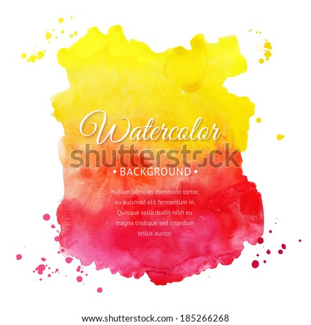 Vector watercolor background for textures and backgrounds. Abstract watercolor background. Hand drawn watercolor backdrop, stain watercolors colors on wet paper. Composition for scrapbooking - stock vector