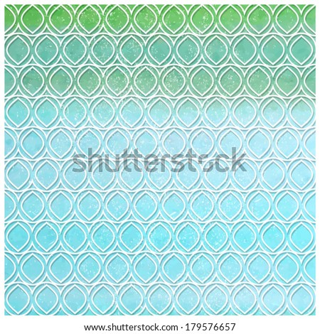 Vector watercolor background with ethnic pattern. Green and blue with white lines.