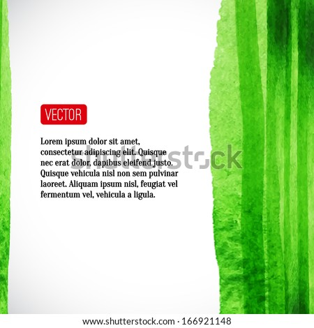 Vector  watercolor background with red label. Vector illustration. Abstract frame. Watercolor backdrop,  watercolour stains. Brush stroke, design element. Template with place for your text.  - stock vector