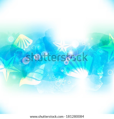 Vector watercolor bright blue background. Underwater with seashells and starfish - stock vector