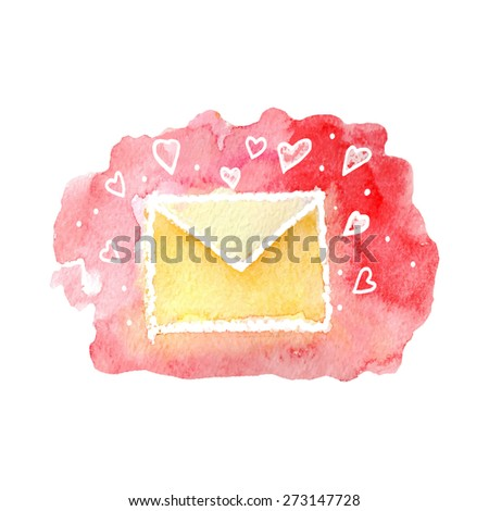 vector watercolor cartoon envelope with hearts. It can be used for card, postcard, cover, invitation, wedding card, mothers day card, birthday card. - stock vector