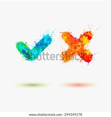 Vector watercolor Check Mark Icons - stock vector