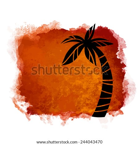 Vector watercolor coffee grunge geometric square paint stain with splash and hand drawn coconut palm tree closeup black silhouette. Painted frame design. Bright colors. Abstract art