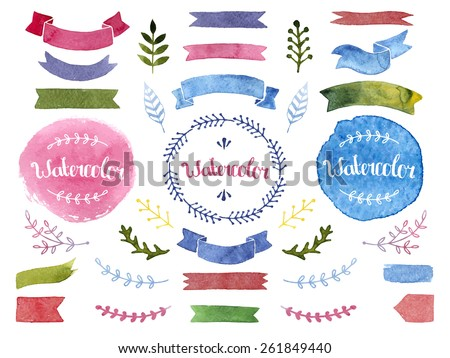 Vector watercolor collection with ribbons, label, floral elements, feathers. Hand drawn watercolor design elements isolated on white background - stock vector
