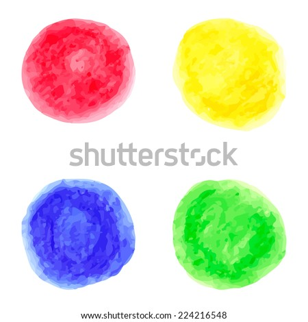 Vector watercolor colorful circles suitable as a text bubble, colorful background, design element and decoration, for web design and infographics - stock vector