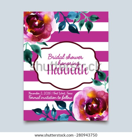 Vector watercolor colorful floral with summer flowers and central white copy space for your text. Vector hand drawn watercolor wreath with flowers. Save the date. Wedding invitation - stock vector