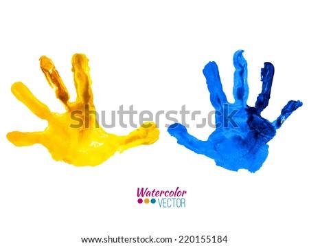 Vector watercolor colorful handprints - stock vector