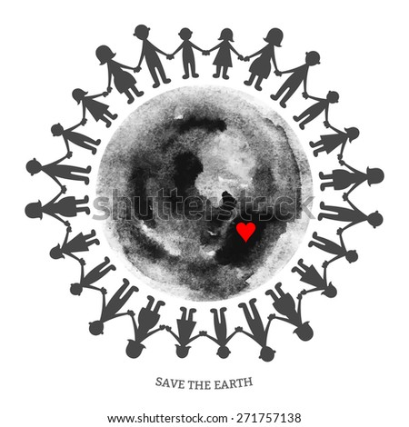 Vector watercolor earth with people isolated on white backdrop. Hand drawing black and white planet illustration. Earth day, the unity of the people. - stock vector