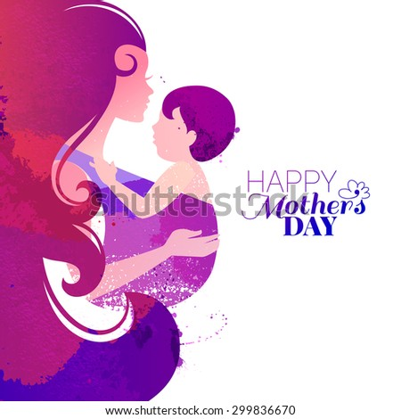 Vector watercolor effect illustration of mother silhouette with her baby. Card of Happy Mothers Day. Beautiful woman and child