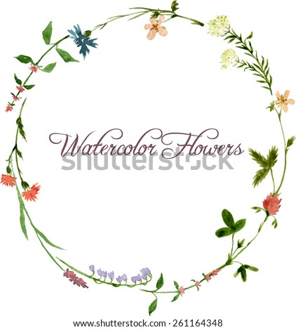 vector watercolor floral frame with wild flowers, hand drawn vector template - stock vector