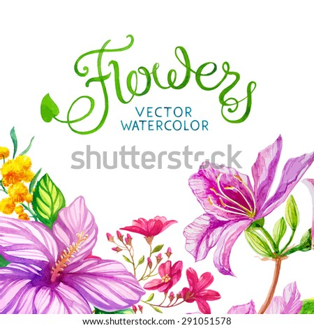 vector watercolor flowers card - stock vector