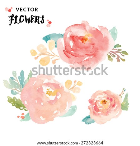 Vector Watercolor Flowers. Watercolour Vector Flowers. Watercolor Flower Vector. - stock vector