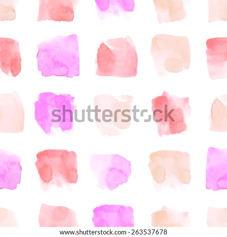 Vector watercolor geometric seamless pattern. Square shapes in pale red, orange and pink color. - stock vector