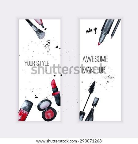 Vector watercolor Glamorous makeup set of  banners with nail polish and lipstick.Creative design for card, web design background, book cover.EPS10. - stock vector