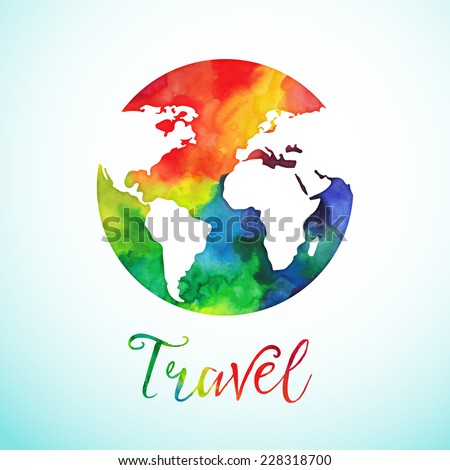 Vector watercolor globe sphere, map design. Travel. Background. Calligraphy badge.  - stock vector