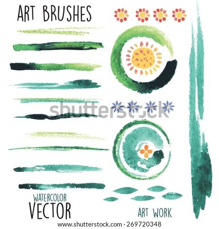 Vector watercolor green brushes and floral elements - stock vector