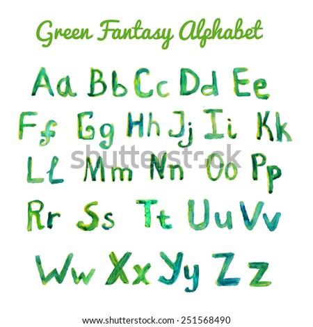 Vector watercolor green fantasy alphabet.  - stock vector