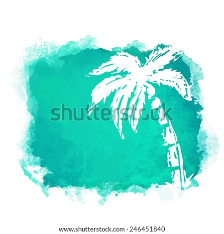 Vector Watercolor Green Grunge Geometric Square Paint Stain With Splash And Hand Drawn Coconut Palm Tree