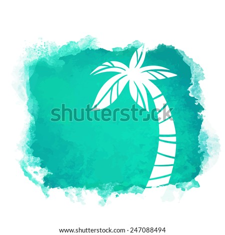 Vector watercolor green grunge geometric square paint stain with splash and hand drawn coconut palm tree closeup white silhouette. Painted frame design. Bright colors. Abstract art