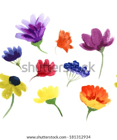 Vector watercolor hand drawn colorful flowers seamless line. - stock vector