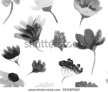 Vector watercolor hand drawn colorful flowers seamless pattern. - stock vector