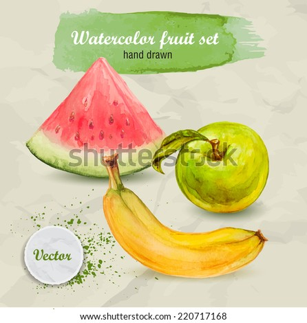 Vector watercolor hand drawn fruit set on paper with watercolor drops. Organic food illustration. Watermtlon, green apple and banana. - stock vector