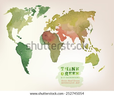 Vector watercolor hand drawn Illustration of environmentally friendly World map. Think Green. Ecology Concept. - stock vector