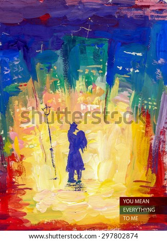 Vector watercolor hand drawn  illustration of young loving couple standing together at the light on the street in night city. with text place. Good for memory postcard design or book illustration. - stock vector