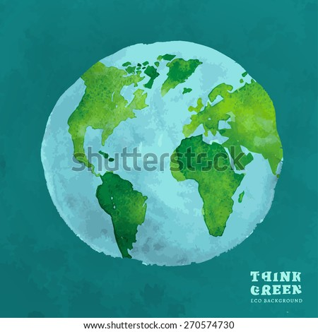 Vector watercolor hand drawn painted Illustration of environmentally friendly World map. Think Green. Ecology Concept. Globe watercolour vector image. - stock vector