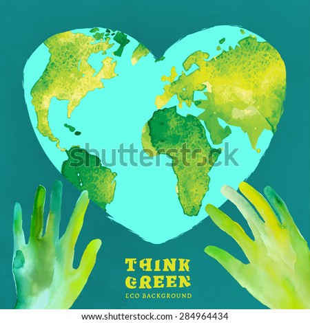 Vector watercolor hand drawn painted Illustration of environmentally friendly World map. Think green and save the Earth. Ecology and protection concept. Globe watercolor vector image.