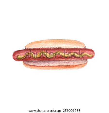 vector watercolor hotdog. It can be used for card, menu, poster, sticker. - stock vector