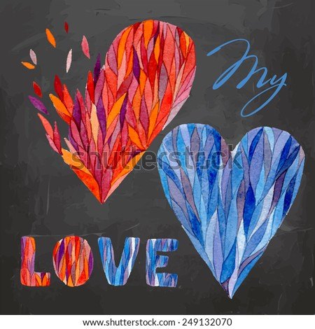 Vector watercolor illustration. Can be used for Valentine's day, wedding, other holiday. Watercolor hearts on the blackboard - stock vector