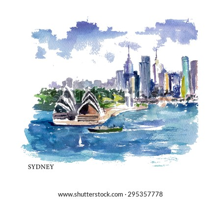 Vector watercolor illustration of Australia sightseeings and Sydney seacoast with text place. Good for warm memory postcard design, any graphic, map design or book illustration. - stock vector