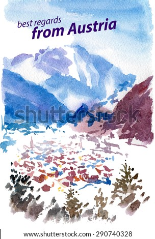 Vector watercolor illustration of Austria sightseeings with text place, small winter mountin touristic town. Good for warm memory postcard design, any graphic design or book illustration. - stock vector